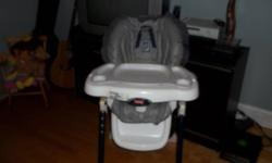 High Chair, In good shape.  Had it for my daughter's first 2 years.  Still works great.  Blue and white.  7 adjustable heights . adjustable waist.  Straps. Removable tray and top tray.