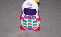 Plays music, numbers, and the alphabet.  Great learning toy.