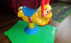 Bounces, Plays Music and Horse Sounds Also has a hook up for interactive TV for toddler games $30.00