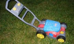 This lawnmower is a lot of fun for any toddler.  Attach a bubble bottle and it will blow bubbles. Asking:  $15.00   Please check out my other ads!