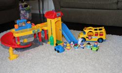 Fisher Price - Little People Car Garage Bus 8 little people 2 Cars   All Barely Used! $30.00 for Everything!