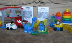 Fisher Price Little People   Resuce Station (Ambulance and Firetruck)       $8.00 Demolition                                                        $6.00 Mamma and baby dinosaur                               $2.00 Rock-a-stack