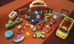 Fisher Price Little People. 7 people, various animals including 3 horses, school bus, various vehicles, barn, water toys and more. Asking $15 for the lot