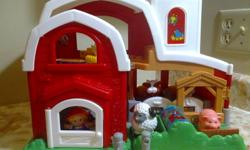There are fun animal sounds in every 'room' and even a charming animal tune. The food bin in the outdoor animal area changes from food to water when your toddler bats at it. The 'merry-go-round area in the front takes the animals on a round-about ride,
