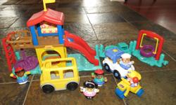 Includes playground, 5 people, tricycle, ice cream truck, school bus