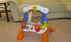 Fisher Price Little Superstar Sing-Along Stage    This is in great condition and retails for over $70.  Our daughter loved it, but has outgrown it.    Sit and play for infants, stand and sing for toddlers.  Recommended for ages 6 months +.  Includes