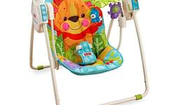 Used Fisher Price Open Top Take Along Swing for sale. All functions work - swinging, sounds. Clean.