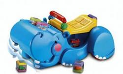 It starts as a push-along walker, then converts to a ride-on?both with great gobbling fun! The hippo?s head bobs up and down as he gobbles up blocks. Early walkers can push it along to steady first steps and encourage movement. Then shift the handle down