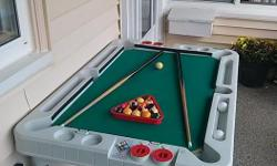 Three in one games, Pool, Ping Pong and Table Hockey. Good condition. Must pick up.