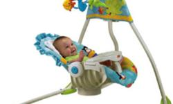 New Fisher Price precious planet swing baby did not like the swing so only sat in it a few times. Paid $189 new. Would like $100 Out of town will deliver The Precious Planet Cradle Swing is the only swing that provides unique two-way swinging motions with