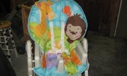 Fisher Price Precious Planet highchair for sale.  In excellent condition.  From Grandpa and Grandma's house so very gentle use.  Highchair is adjustable in height and has three reclining positions which makes it great for very young babies right up to