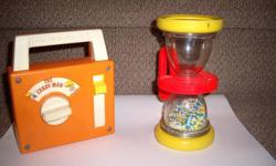 hour glass rattle 1970 $15 radio candy man 1978 $15 all decals present, no tears, works great