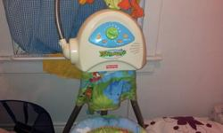 Hi everyone! I have for sale an extremely well- maintained and clean Fisher Price Rainforest swing. It comes with adapter so saves you the cost of batteries! Although it can also work with batteries. Wonderful thing to have for your baby. The rocking can