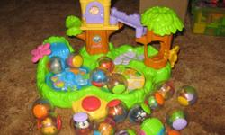 The Jungle Friends Treehouse is a busy activity play set for babies to bring their Roll-A-Rounds to life. Features ball perch, waterfall drop, peek-a-boo door, dragonfly spinner and butterfly clicker slide. Balls activate music and motion effects. Big