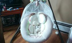Baby swing in excellent condition. Has two swinging motions - side to side or head to toe. Variable speed settings. Plays music (birds, lullabies, waterfalls etc) with volume control. Also has a mobile. Seat cover can be removed to wash. Comes with AC