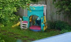 Fisher Price castle play structure (approx 6 feet high) with: -covered sandbox -climbing structure -small slide In great condition, just a bit of dirt on it. We've dismantled the castle for easy transport--it's at the end of our driveway and ready for