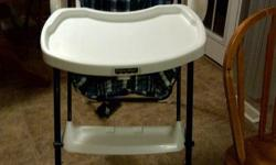 This High Chair is also a swing. 2 feeding positions. 2 swing positions and 3 speeds. folds up for storage. The seat cover is frabric on one side and plastic on the other for feeding. $75 OBO