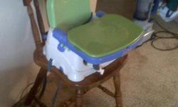 Fisher Price Feeding Chair, has 2 trays and lid. Clips to chair, straps function as shoulder strap for carrying. Foldable and extremely handy. $40 obo