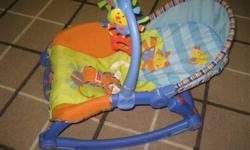 This vibrating chair was used from the time our kids were new-born up until they were toddlers.  It has many different adjustments which accommodate a wee infant all the way to the toddler stage when it becomes a rocker and you take off the attachments.