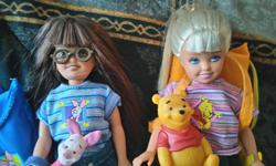 $5 each. Stacie and Whitney (Barbie's little sis and friend). Adult owned, display only. If you put a battery in the backpack, the flashlight will work. Pooh Bear and Piglet are on a velcro strip that wraps around the doll's wrist. More pictures in