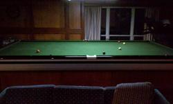 6' x 12' Commercial style Snooker Table.  Felt, cushions in good condition, 1.5 inch thick slate, snooker and pool balls included.  Removable storage enclosure for base of table.
