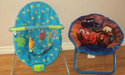 DISNEY CARS PATTREN FOLDING SAUCER CHAIR NEXT TO NEW CONDITION NOT USED 16.00 NEW GOT it AS GIFTS