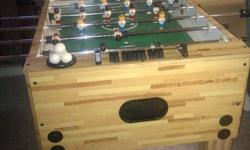 i am selling this game for whoever likes Foosball, i bought it around $110-120 we got it not long time ago and still in good conditions. it has the score keeping, i think 6 or 7 balls and all of the sticks work properly.