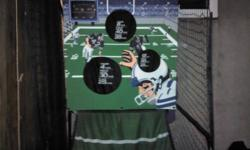 I have a arcade size football game you throw the footballs in the holes you can play with 2 people and play a full game of football really cool I just do not have room for it I am asking 150 o.b.o you can't find these anywhere it is about 2 years old that