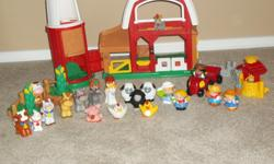 FISHER PRICE FARM! ANIMAL SOUNDS ALL AROUND AND PLENTY TO DO LITTLE ONES WILL DISCOVER WHAT A BUSY PLACE THE FARM CAN BE. OPEN AND CLOSE THE PEEK-A-BOO DOORS TO HEAR ANIMAL SOUNDS. TAKE A SECRET SHORTCUT THROUGH THE SILO OR SLIDE THE CHICKEN ALONG THE