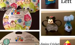 Disney Tsum Tsum From the 2nd Blind Bag series, I have the 4 characters pictured. Jiminy Cricket and Eeyore, I have 2 of each available. Mickey and Alien, 1 of each available. They come still sealed in their clear plastic wrap. They retail for $5 each,