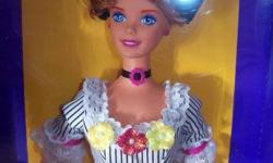 This gorgeous French Barbie is from the Collectors Edition. She is from 1996 and is brand new in her box. She comes from a smoke free home. I am able to meet you in Brampton on Sun. Dec. 18th, or have her available for pick up in Fergus.