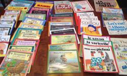 Assortment of French books available. Includes titles such as: - Caillou (7) - Benjamin (4) - Une aventure d`Elliot (4) - L nature et moi (4 hard cover) - Simon series by Gilles Tobo (8) - Les aventures de Jiji et Pichou (11) - Bertrand (2) - L`autobus