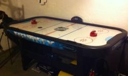 This air hockey table is just a few years old. It powers up like new, and has electronic score keeping! Comes with 2 handles and 2 pucks, table is in great shape. Some signs of use, but nothing extreme and no gashes out of it. Fun for children and adults!