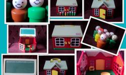 Little Kids Love Toys and Games! Make Them Happy with These: Little Tikes School House with: Opening Doors A Seat for the Teacher Chalkboard Roof Seven Vintage Fisher Price Little People The Game of Operation with Lights and Sound Instruction Booklet All