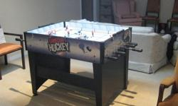 We?re selling a Gamecraft table hockey game in excellent condition. It is complete including an extra player for each team and works perfectly. The playing surface is 32 ½? X 42 ½? and the top of the game is 36? from the floor. We bought it for our