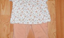 """""""George"""" (WalMart brand) cotton short sleeve tops and pants Orange pants & flower printed top Yellow pants & solid yellow top from a smoke-free home   asking $3.00 per outfit or $5.00 for all 4 pieces   I have tons of little girl clothing from 0-3 month"""