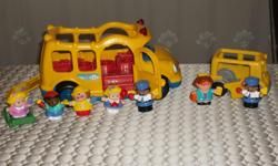 BY FISHER PRICE,LITTLE PEOPLE 2 SCHOOL BUS. 1 BIG SCHOOL BUS WITH 5 FIGURES AND A WHEELCHAIR PRESS DOWN ON FIGURE IN THE DRIVER'S SEAT FOR LIGHT,TALKING AND A SONG. DOORS OPEN AND CLOSE. ASKING $13.00 1 SMALL SCHOOL BUS INCLUDE: MAGGIE,DRIVER AND SMALL