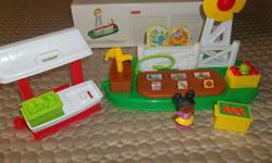 """MINT CONDITION! LITTLE PEOPLE FARM GARDEN & STAND FUN FLIP TO GROW ACTION 1) CURIOSITY AND DISCOVERY """"VEGETABLE GROW""""WITH A FLIP AND SUNFLOWERS POP-UP WITH A PUMP!TODDLERS DISCOVER HOW THEIR ACTIONS MAKE THINGS HAPPEN IN THE GARDEN. 2)IMAGINATION AND"""