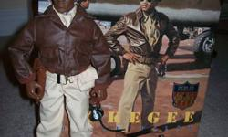 """GI Joe 12"""" Tuskegee Bomber Pilot - Limted Edition WWII Collection (rare) - adult collector - temporarily removed from box for shelf display. - 1996 Hasbro/ Kenner Inc., item # 81394 - highly detailed, mint condition - paid $57.50 (back when they were"""