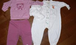 12m: 2-piece teddy bear pjs $3.00 3-piece Pooh sleeper, booties and hat $3.00 Blue check dress $1.00 Denim overalls $1.00 12-18m: Blue floral dress $1.00 White lace trim onesie $1.00 Smoke free home Check out my other ads for more baby clothes, gear,