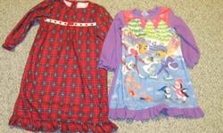 Girl's 3T Sears red plaid nightgown and Girl's 2/3 Children's Place nightgown.  Both in great condition and come from a pet and smoke free home. Two pairs of Toddler Girl's size 7-8 slippers.  Snowman slipper boots and Disney Princess slippers.  Both in