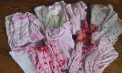 Bin of very gently used 0-3 month girls clothing.  14 pairs of pjs, 4 long sleeve onsies, 14 short sleeve onsies, 5 pants, 2 shirt/pant outfits, 3 long sleeves/sweaters, hats, socks and shoes.  $40.  Pick up in Cobourg