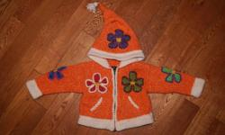 Girls 2T Zip-up Hoodies CRAZY CUTE!!! Orange with Flowers 50% Lambs Wool & 50% Acrylic Childrens Place Green with Monkeys (Like NEW) $10 for BOTH