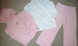 ADORABLE LITTLE SET FROM GYMBOREE! ONLY DEFECT IN THIS LOT IS THE PINK T-SHIRT WITH THE TWO BLACK BOWS & PURSE. THERE ARE A FEW CHOCOLATE MILK STAINS ON THIS SHIRT THAT MAY WASH OUT WITH THE RIGHT PRODUCTS.   THE PINK SWING TOP WITH ROSES (SHOWN WITH