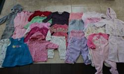 $35.00 26 Items in lot plus more that didn`t make the photo all clothes in great - good condition (some items may have small stains) smoke free home sizes are 6-9m, 6-12m + 12m Fila pants, baby gap hoody + sweats, espirt set, mini wear set, faded glory
