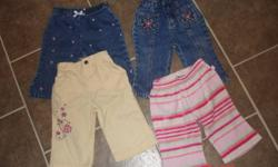 Pic 1 - 4 pairs of pants - Old Navy, Bum, Kids Play, Nevada (6-12 old navy striped, rest are 6 mth and 6-9 mths)   Pic 2 - Pair of Oshkosh Overalls with matching long sleeve shirt and a long sleeve oneies - Oshkosh & Simply Basic (both 6-9mths)   Pic 3 -