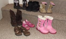 All from a smoke & pet free home. They are all size 6. Everything is in excellent used condition unless noted below. Includes: black & pink winter boots ~ Weather Spirits black fur lined boots ~ Joe (missing a pom pom on one side) light brown fur boots