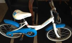 This is an awesome little bike There are dings and scratches but works perfect! Our daughter learned to ride without training wheels on it last summer (she was 5 then) and then rode all over the place but now she's too tall for it. We still have the