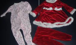 Excellent Conditon, Smoke Free Home, No Rips/Stains   Girls Santa Suit only worn a few times, retails for $20+tx asking $10.   Pink Santa sleeper was worn only a few times, has snaps down the legs for easy access to a diaper, retails for $10 asking $5.