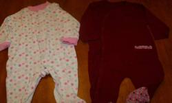 Girls sleepers. 0-3 months. Picture #1 - sleeper on right is missing the top button. Others are in great condition, none have staining. $2 each   Port Elgin